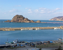日本海に浮かぶ白山島